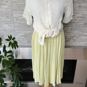 NWT Vintage Lime Yellow Heavy pleated Skirt S